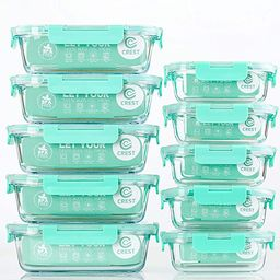 [10-Pack] Glass Food Storage Containers with Lids, Airtight, BPA Free, Meal Prep Containers for K... | Amazon (US)