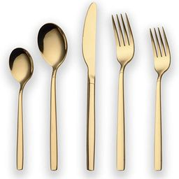 Berglander 20 Piece Titanium Gold Plated Stainless Steel Flatware Set, 20 Pieces Golden Silverwar... | Amazon (US)