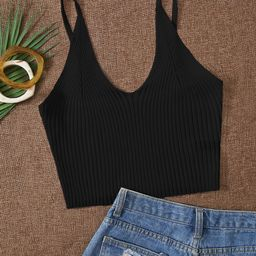 Solid Ribbed Knit Cami Top | SHEIN
