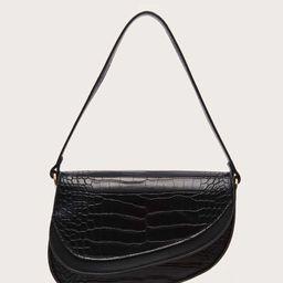 Croc Embossed Saddle Bag | SHEIN