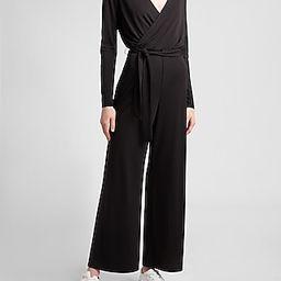 Soft Belted Wrap Front Wide Leg Jumpsuit   Express