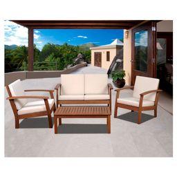 Laguna Beach 4-Piece Eucalyptus Wood Patio Set with Off-White Cushions - Brown | Target