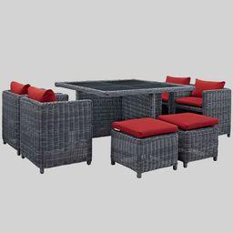 Summon 9pc Outdoor Patio Sunbrella Dining Set - Red - Modway | Target