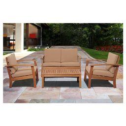 Laguna Beach 4-Piece Eucalyptus Wood Patio Set with Khaki Cushions - Brown | Target