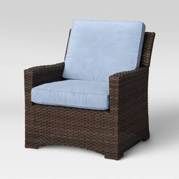 Halsted Wicker Patio Club Chair - Chambray - Threshold | Target
