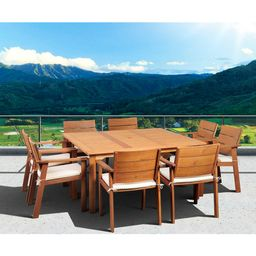 Saint Paul 9-Piece Wood Square Patio Dining Furniture Set | Target