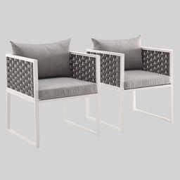 Stance 2pk Outdoor Aluminum Patio Dining Armchair Gray - Modway | Target