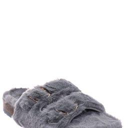 Faux Fur Molded Footbed Slipper - Furry Slide In Cork Slide Sandal | Walmart (US)