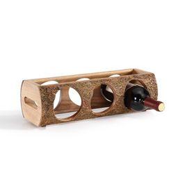"15.2"" x 4.7"" Stackable Three Bottle Wine Holder Acacia Wood Log Brown - Danya B. | Target"