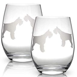 Schnauzer Stemless Wine Glasses (Set of 2) | Unique Gift for Dog Lovers | Hand Etched with Breed ... | Walmart (US)