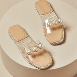 Clear Faux Pearl Decor Espadrille Slide Sandals | SHEIN