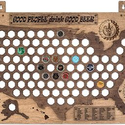 PLYDOLEX Wooden United States Beer Cap Map for 98 Beer Bottle Caps - Wall Beer Cap Holder Size 19... | Amazon (US)