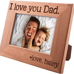 I Love You Dad, Personalized Picture Frame | 4x6 | Custom Engraved Frames w Name - Fathers Day Gi... | Amazon (US)