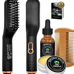 Beard Straightener w/Beard Balm & Beard Growth Oil & Beard Comb & Beard E-Book,Patented Design 3 ... | Amazon (US)