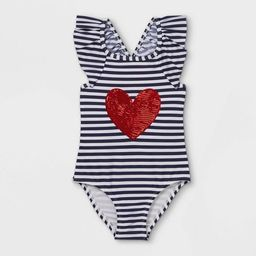 Toddler Girls' Striped Heart Print One Piece Swimsuit - Cat & Jack™ Navy | Target