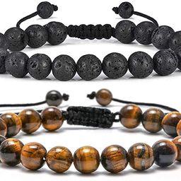 Tiger Eye Mens Bracelet Gifts - 8mm Tiger Eye Lava Rock Stone Mens Anxiety Bracelets, Stress Reli... | Amazon (US)
