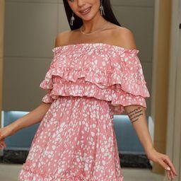 Eilly Bazar Off Shoulder Layered Trim Allover Print Dress | SHEIN