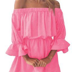Womens Holiday Off Shoulder Bardot Mini Dress Summer Beach Frill Ruffle Sundress | Walmart (US)