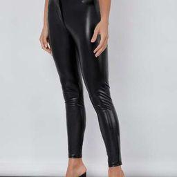 SHEIN BASICS High Waist PU Leather Skinny Pants   SHEIN