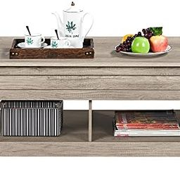 YAHEETECH Lift Top Coffee Table with Hidden Storage Compartment & Lower Shelf, Dining Table Farmh...   Amazon (US)