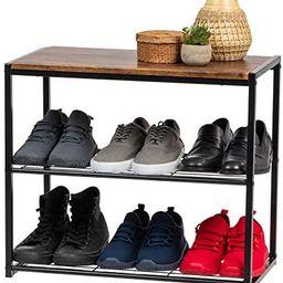 IRIS USA WSSO-3 3-Tier Shoe Storage Organizer, Black with Brown Wood   Amazon (US)