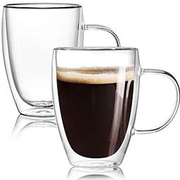 [2-Pack,12 Oz] Double Wall Glass Coffee Mugs with Handle,Insulated Coffee Glass,Clear Espresso Cu...   Amazon (US)