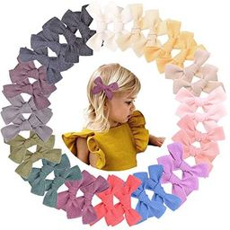 32pcs 3.5in Baby Girls Hair Bows Clips Linen Hair Barrettes Hair Accessories for Kids Toddlers Sc... | Amazon (US)