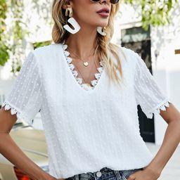 Swiss Dot Contrast Lace Blouse   SHEIN