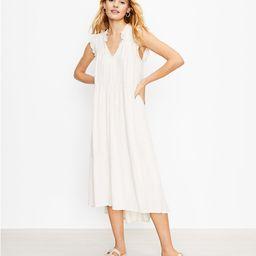 Smocked Tie Neck Midi Swing Dress | LOFT | LOFT