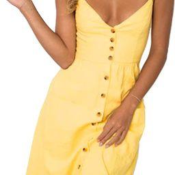 Angashion Women's Dresses-Summer Floral Bohemian Adjustable Spaghetti Strap Button Down Swing Mid...   Amazon (US)