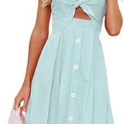 ECOWISH Women Dresses Summer Tie Front V-Neck Spaghetti Strap Button Down A-Line Backless Swing M...   Amazon (US)
