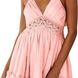 ECOWISH Womens V-Neck Spaghetti Strap Bowknot Backless Sleeveless Lace Mini Swing Skater Dress   Amazon (US)