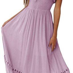 SAUKOLE Women's Summer Sleeveless Strapless Ruffle Off The Shoulder Swing Cocktail Party Dress   Amazon (US)