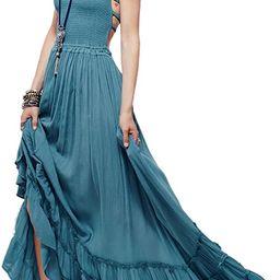 R.Vivimos Womens Summer Cotton Sexy Blackless Long Dresses   Amazon (US)