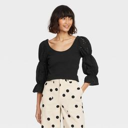 Women's Puff 3/4 Sleeve Scoop Neck T-Shirt - Who What Wear™ | Target