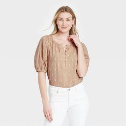Women's Puff Elbow Sleeve Button-Down Blouse - Universal Thread™ | Target