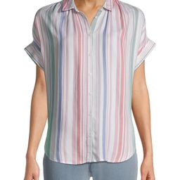 Time and Tru Women's Button Shirt with Short Sleeves | Walmart (US)
