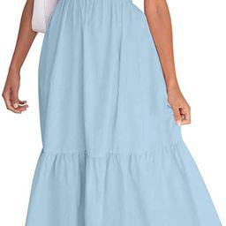 ZESICA Women's Summer Bohemian Floral Printed Strapless Beach Party Long Maxi Dress   Amazon (US)