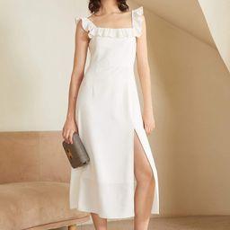 White Ruffled Square Neck Midi Dress | J.ING