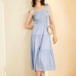 Frilly Blue Peasant Midi Dress | J.ING