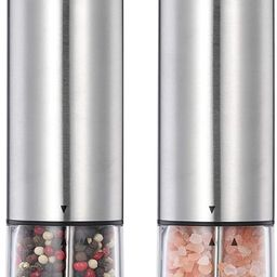 Electric Salt and Pepper Grinder Set-Battery Operated Stainless Steel Spice Mills with Light-One ...   Amazon (US)