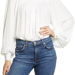 Washed Satin Long Sleeve Top   Nordstrom