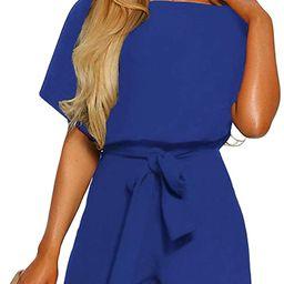Vetinee Womens Summer Belted Romper Keywhole Back Short Sleeve Jumpsuit Playsuit   Amazon (US)