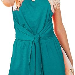 ZESICA Women's Summer Sleeveless Halter Neck Solid Color Knot Front Short Jumpsuit Romper with Po...   Amazon (US)