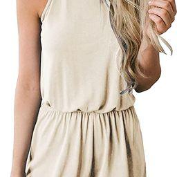 MEROKEETY Women's Summer Halter Neck Shorts Elastic Waist Solid Color Jumpsuit Rompers   Amazon (US)