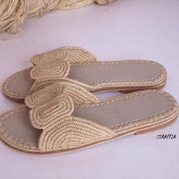 Moroccan handmade shoes made of natural raffia,  and soles real leather. ziraffia   Etsy (US)