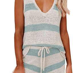 Womens Summer 2 Piece Outfits Sexy Sheer Romper Stripe Jumpsuit Casual Strappy Tie Waisted Beach ...   Amazon (US)