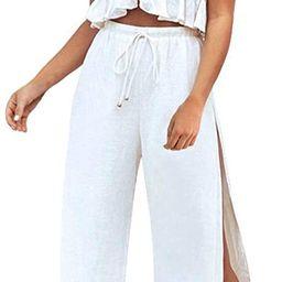 FANCYINN Womens 2 Pieces Outfits Deep V Neck Crop Top Side Slit Drawstring Wide Leg Pants Set Jum...   Amazon (US)