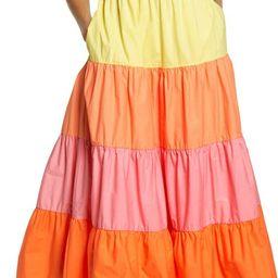 Colorblock Tiered Midi Dress   Nordstrom