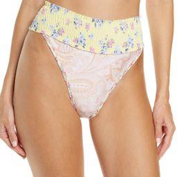 River Island High Waist Mixed Print Smocked Bikini Bottoms   Nordstrom   Nordstrom